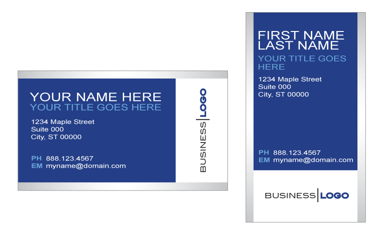 @ vector business card. Generic blue and silver