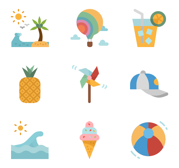 Vector psd summer. Icons free