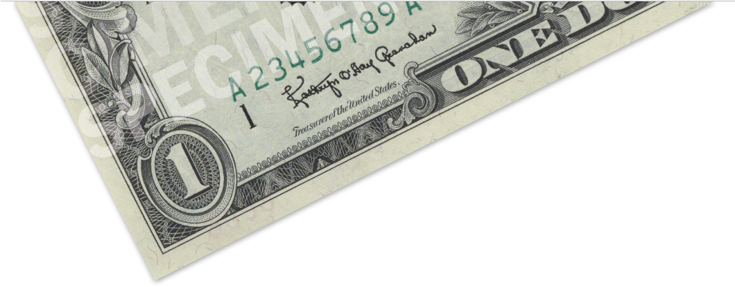1 dollar bill png. Download raised printing image