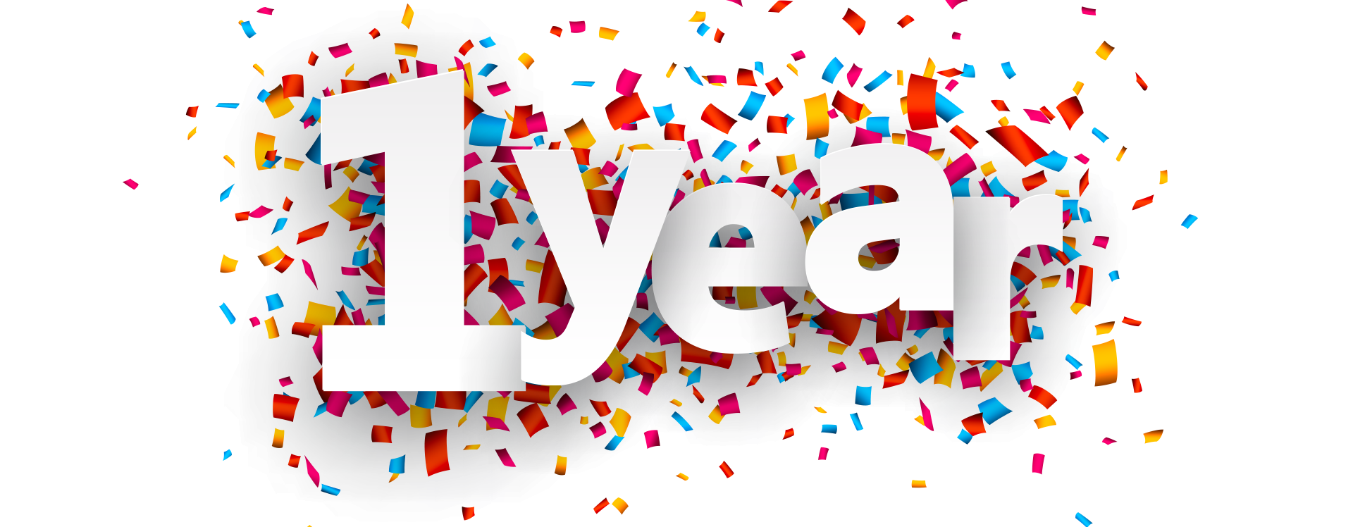1 year celebration png. One anniversary transparent images