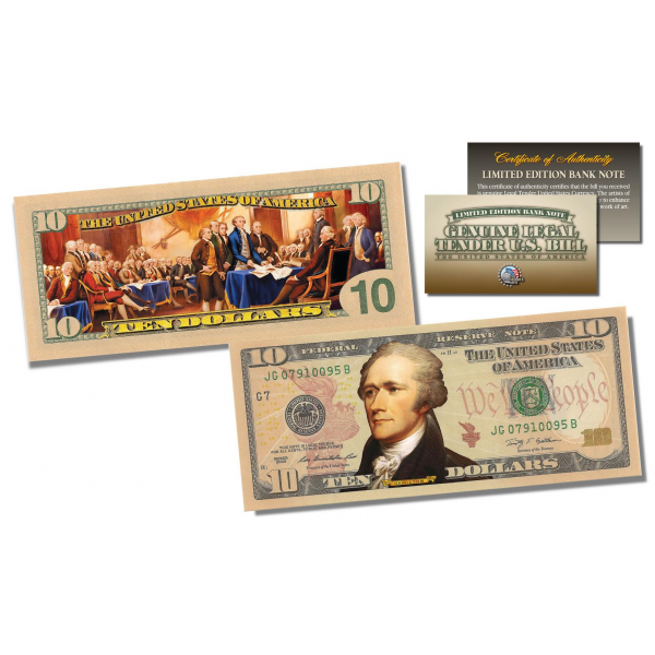 10 dollar bill png. Sided colorized genuine