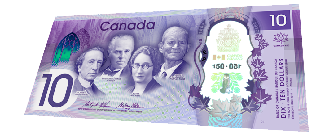 $10 png dollar bill. The new canadian is