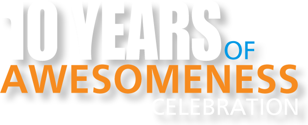 10 year celebration png. The years of awesomeness
