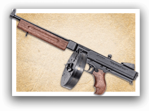 Weapon drawing tommy gun. Home auto ordnance original