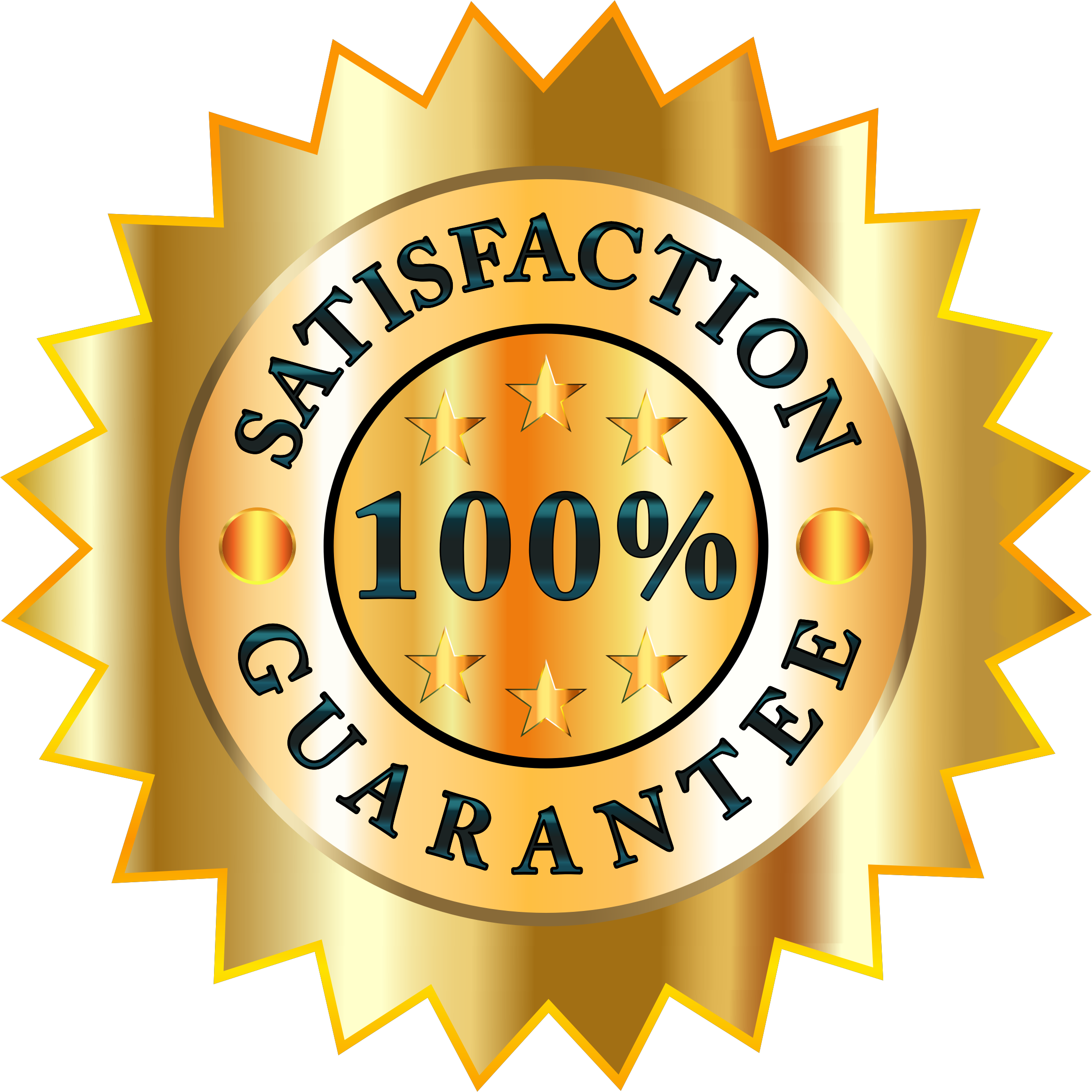 100 clipart 100 percent. Satisfaction guarantee badge big
