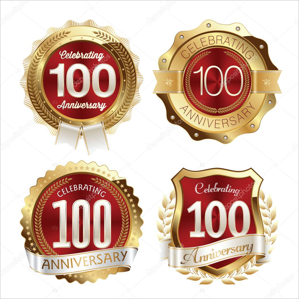 100th of clipart anniversary. Gold and red badges