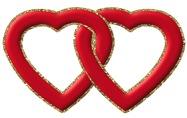 2 hearts png. Two red with gold