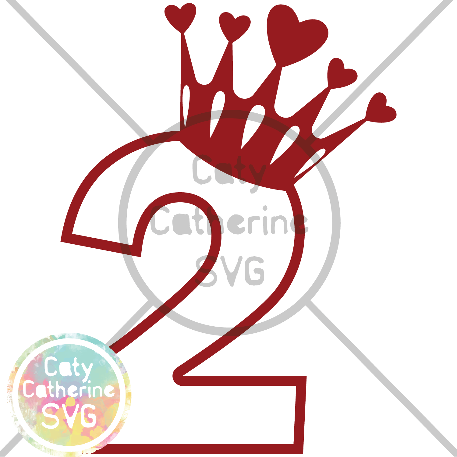 2 svg hearts. Two years old