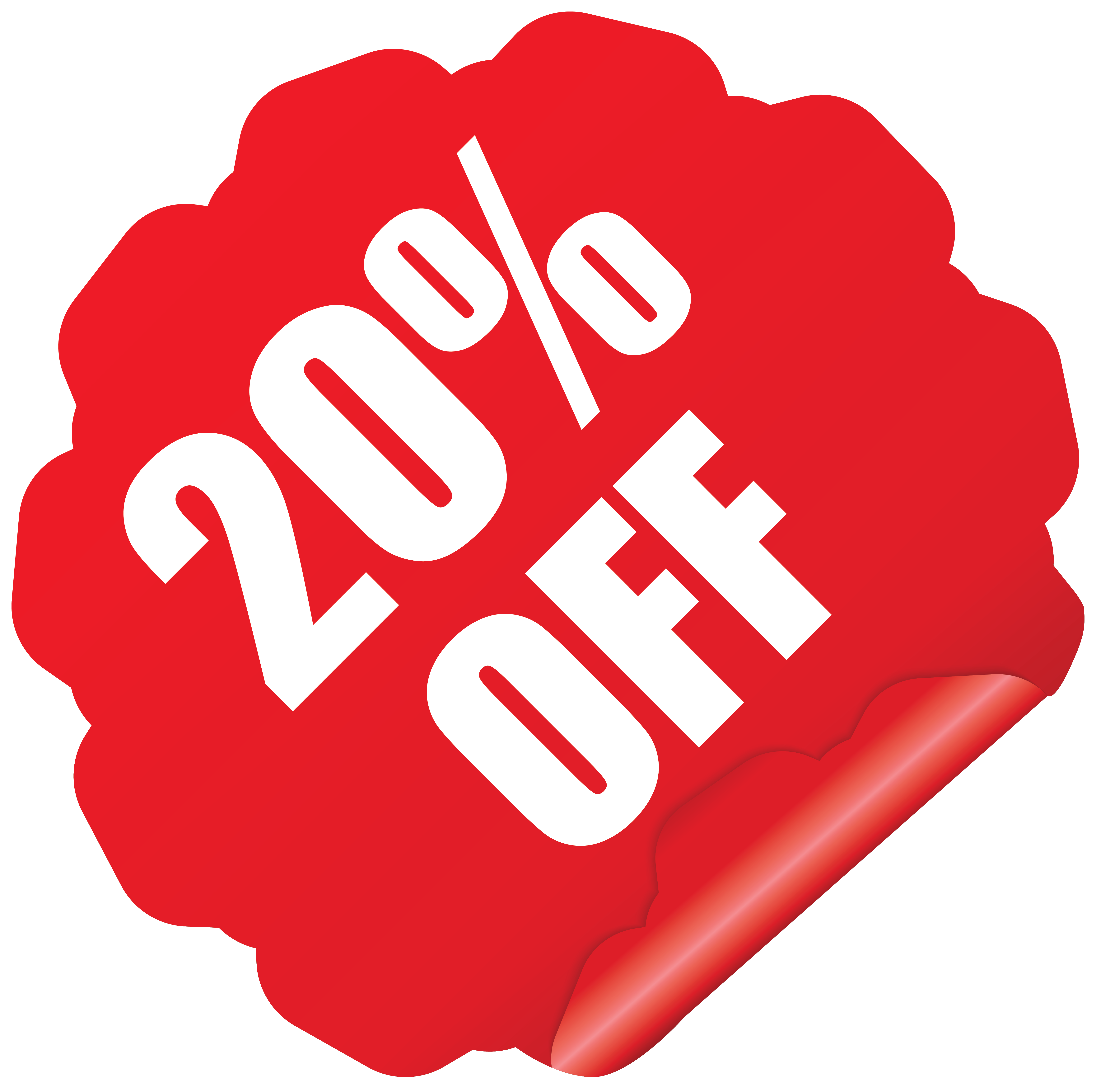 20% off sale png. Sticker clipart image