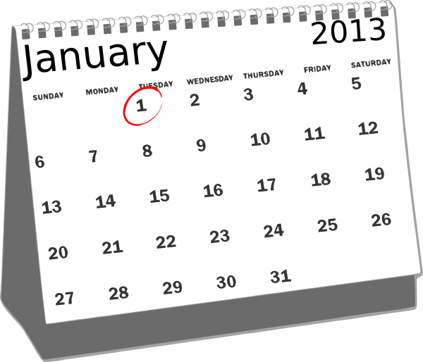 2013 clipart black and white. January desk calendar clip