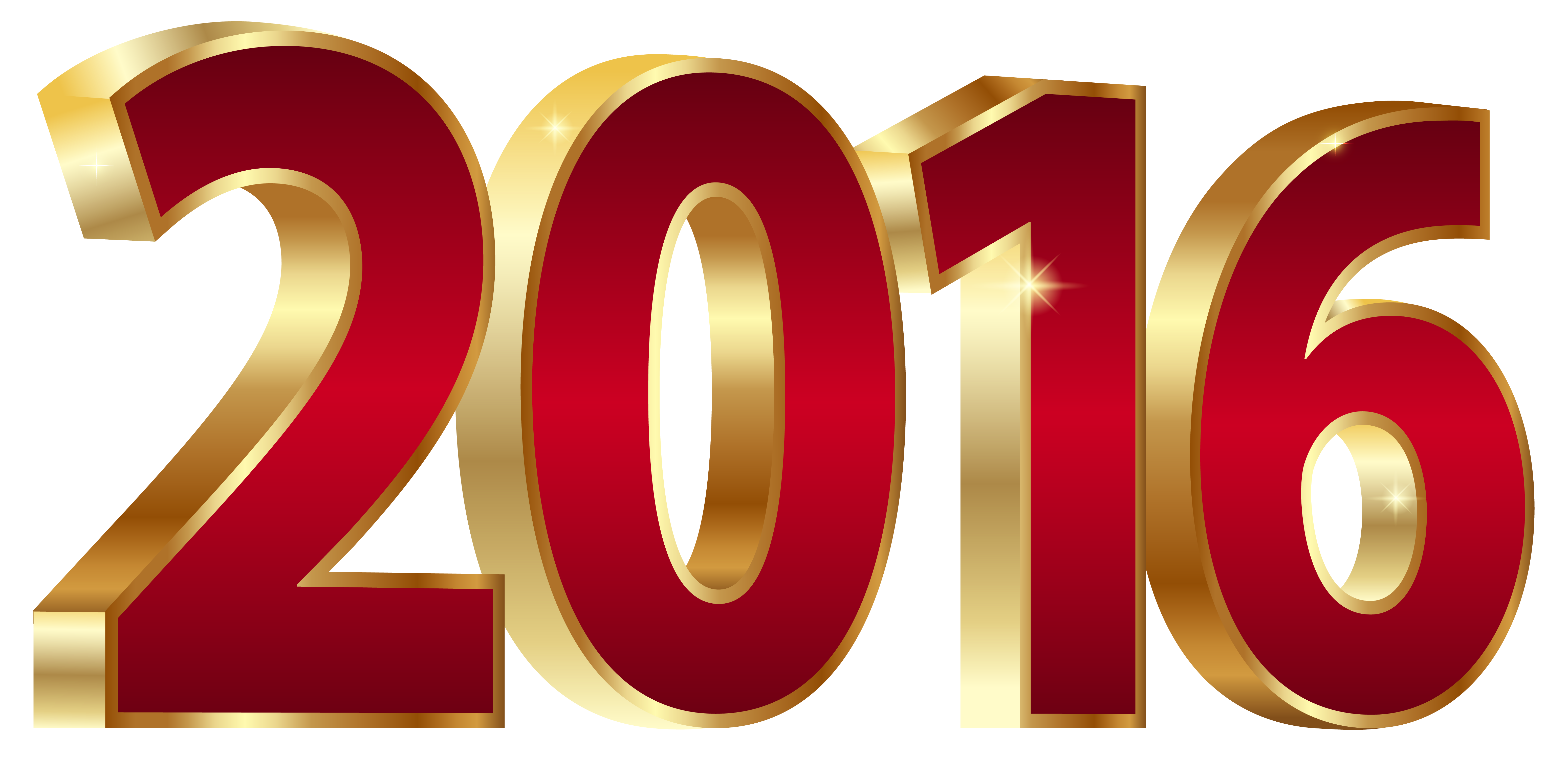 2016 clipart. Gold and red