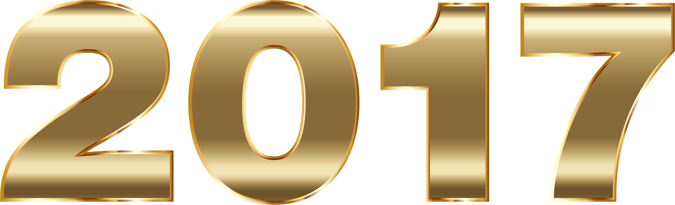 2017 clipart 2017 number. Gold typography no background