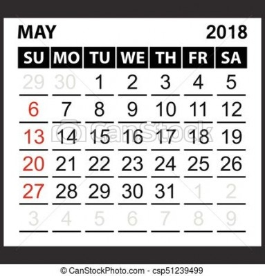 2018 clipart may 2018. Calendar blank template sheet
