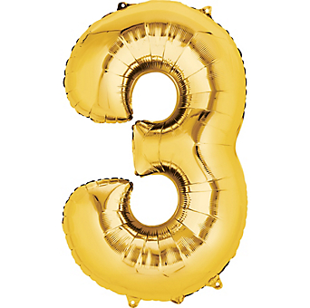 3 balloon png. Decorator number gold
