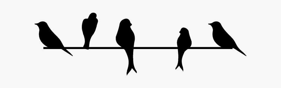 3 birds on a wire. Love clipart outline wall