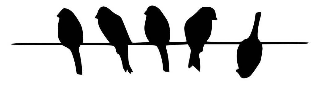 3 birds on a wire. Pack of stencils made