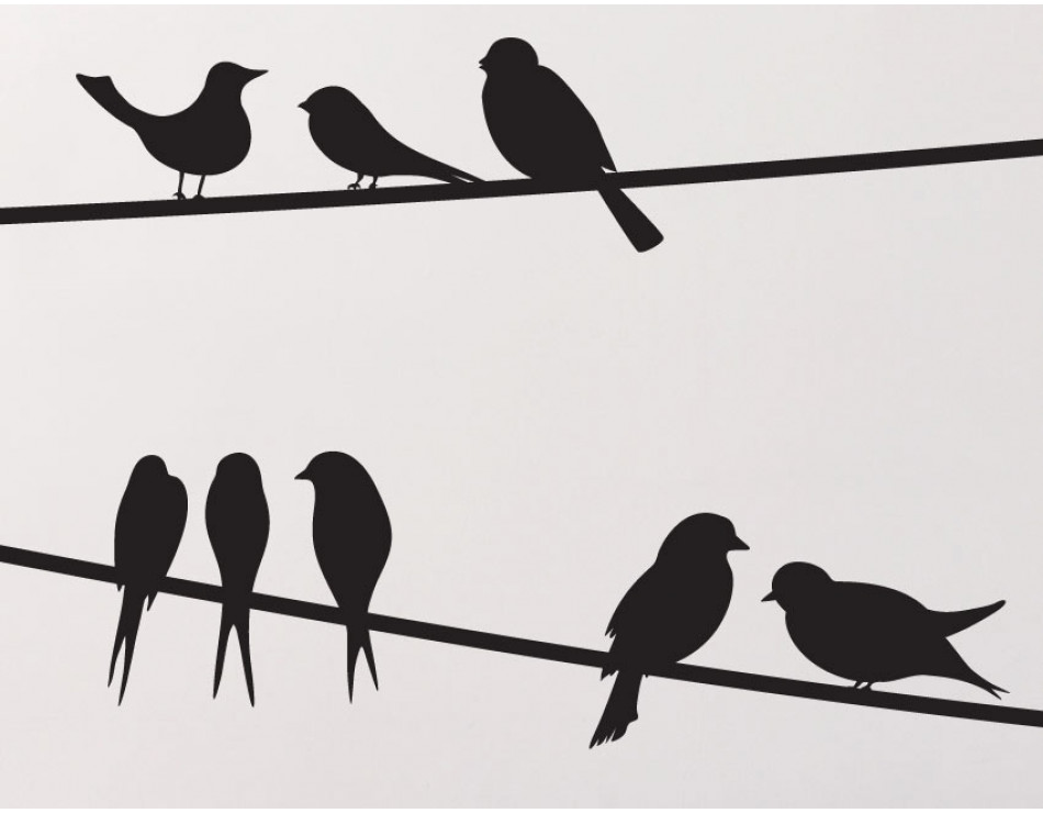3 birds on a wire. Wall decals buy these