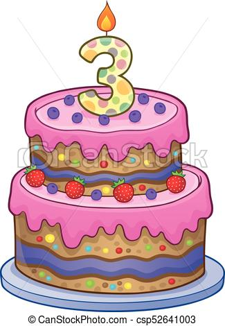 Birthday cake image for. 3 clipart 3 year old vector freeuse download