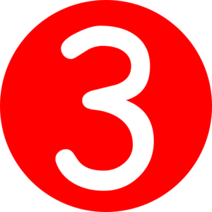3 clipart. Red rounded with number
