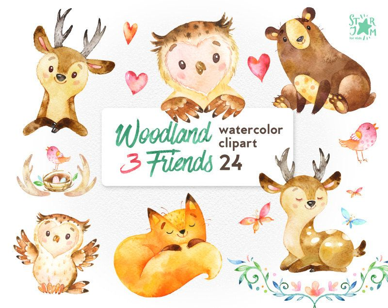 Woodland friends watercolor animals. 3 clipart animal image library download