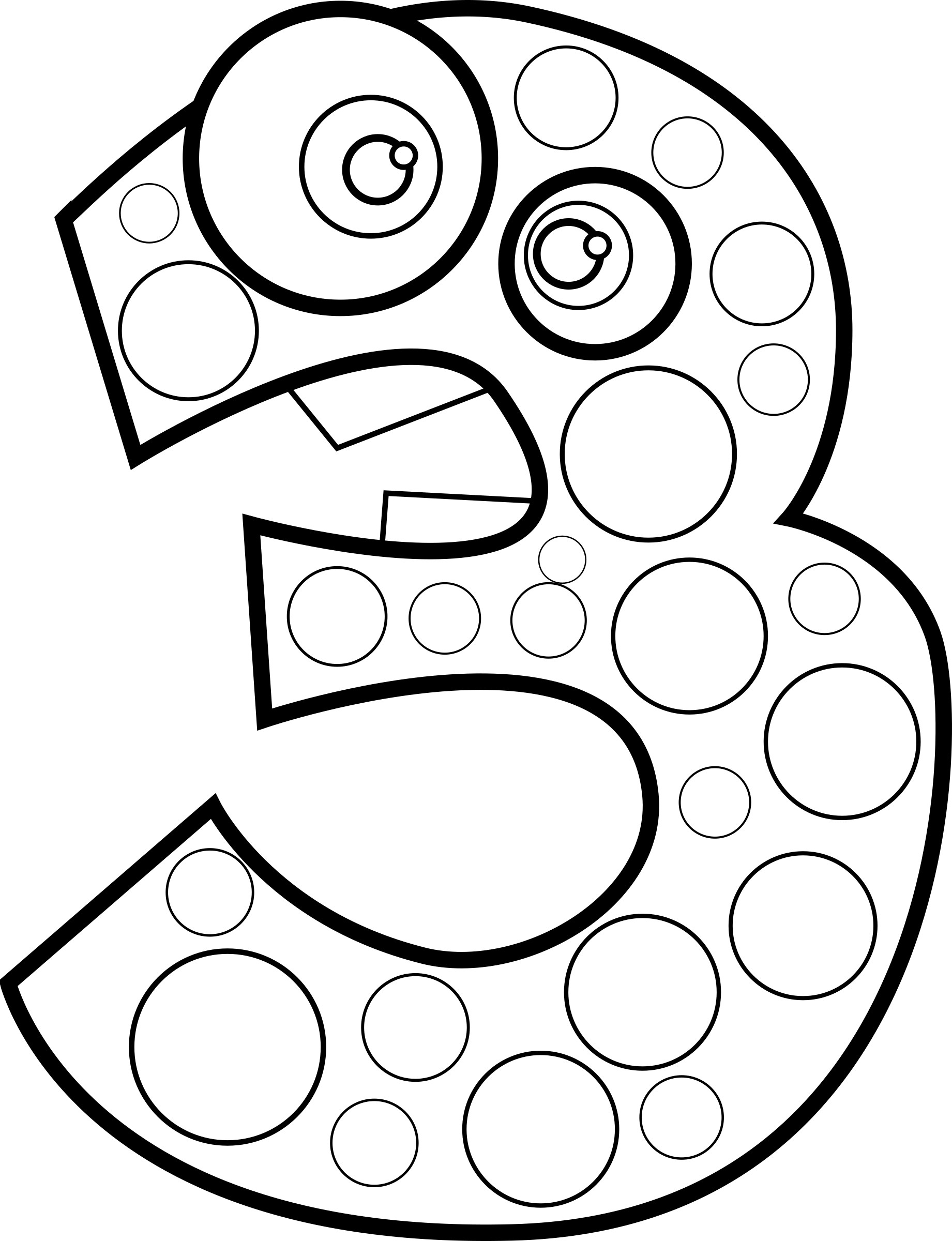 Number three lineart big. 3 clipart animal royalty free library