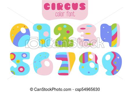 Cartoon style colorful numbers. 3 clipart number 0 vector royalty free stock