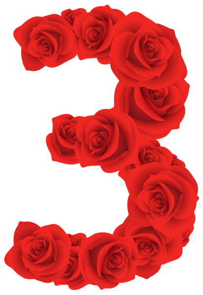 3 clipart rose. Red roses number three svg free download