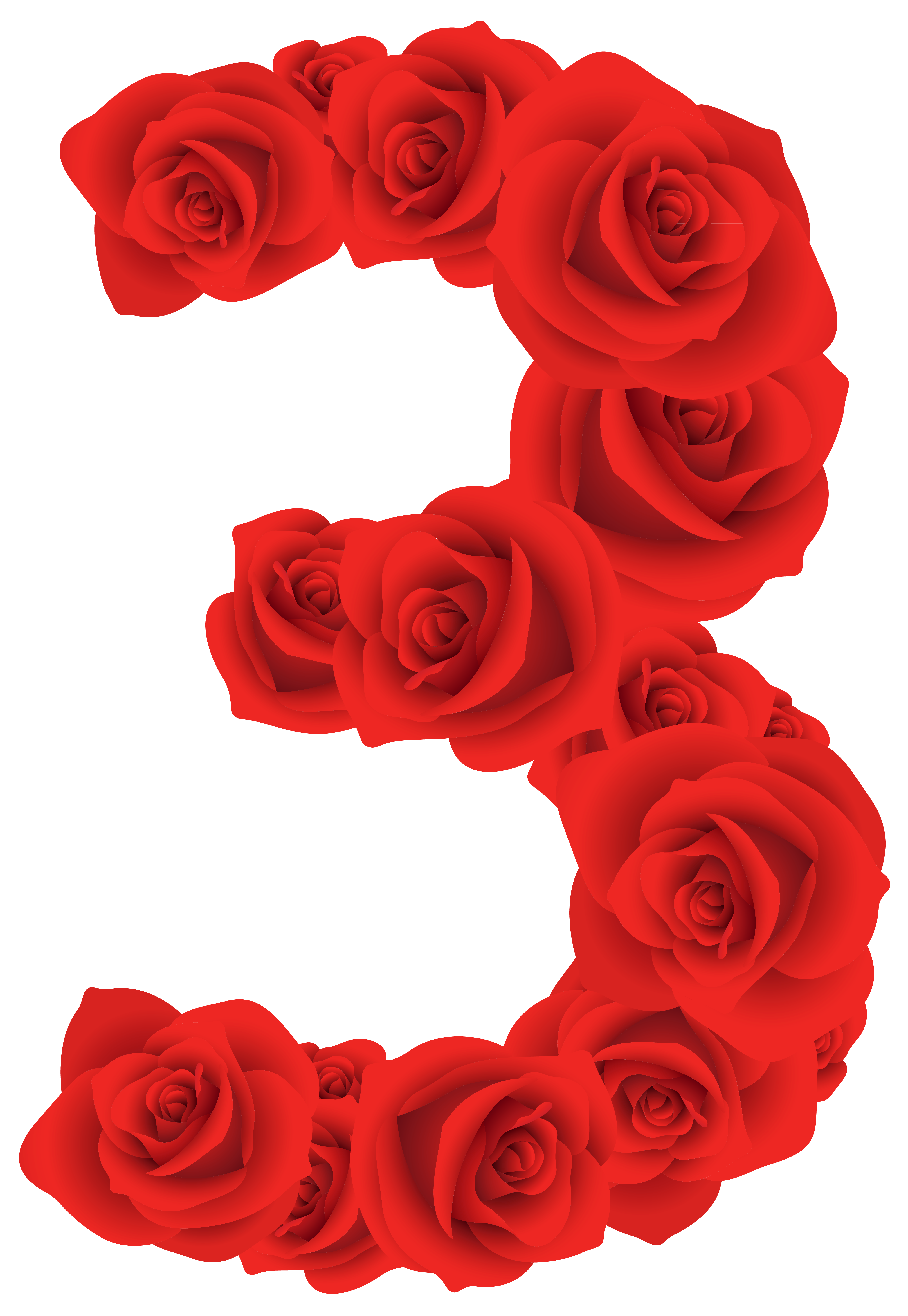 3 clipart rose. Red roses number three