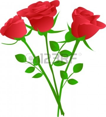 Bouquet of red roses. 3 clipart rose vector black and white