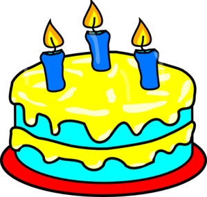 3 clipart yellow. Three candle cake clip