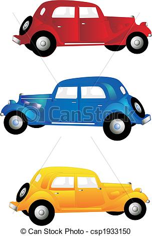 3 clipart yellow.  vintage cars three graphic freeuse stock