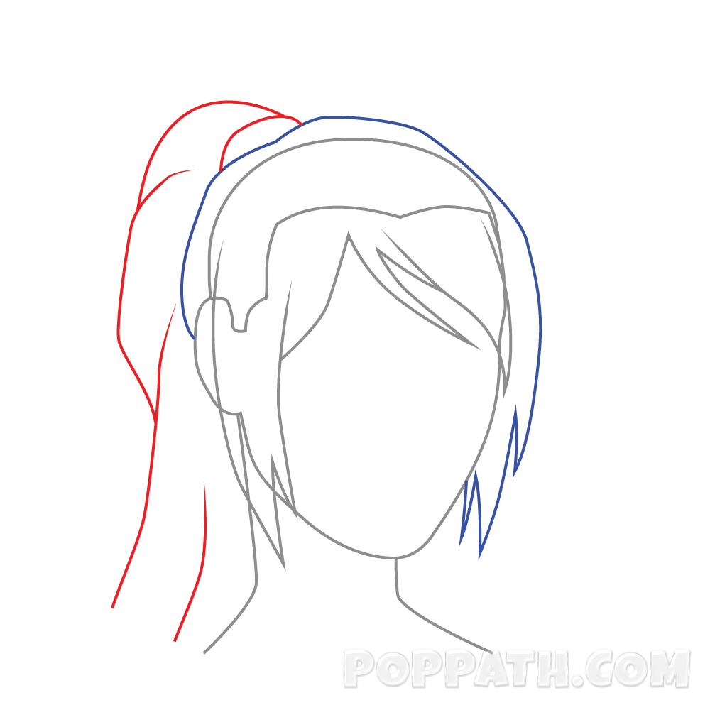 side drawing ponytail