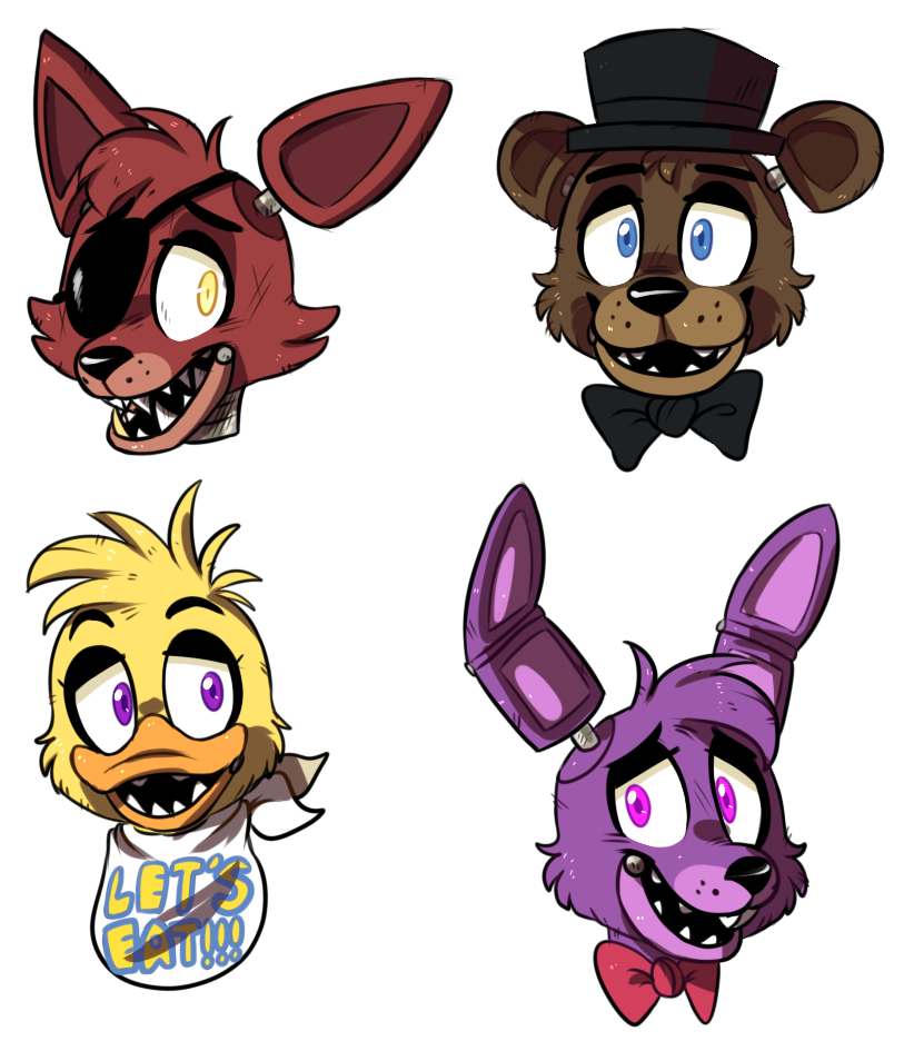 Fanart drawing fnaf. Fan art headshots by