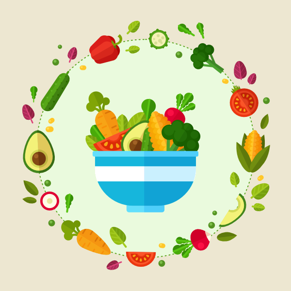 Create a flat style. Vector vegetables illustrator clip stock