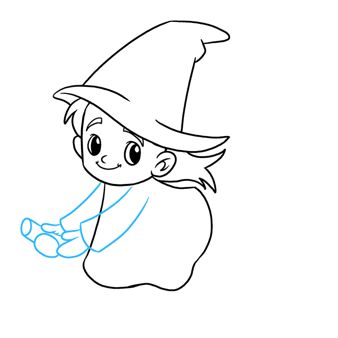Drawing witch face. How to draw a