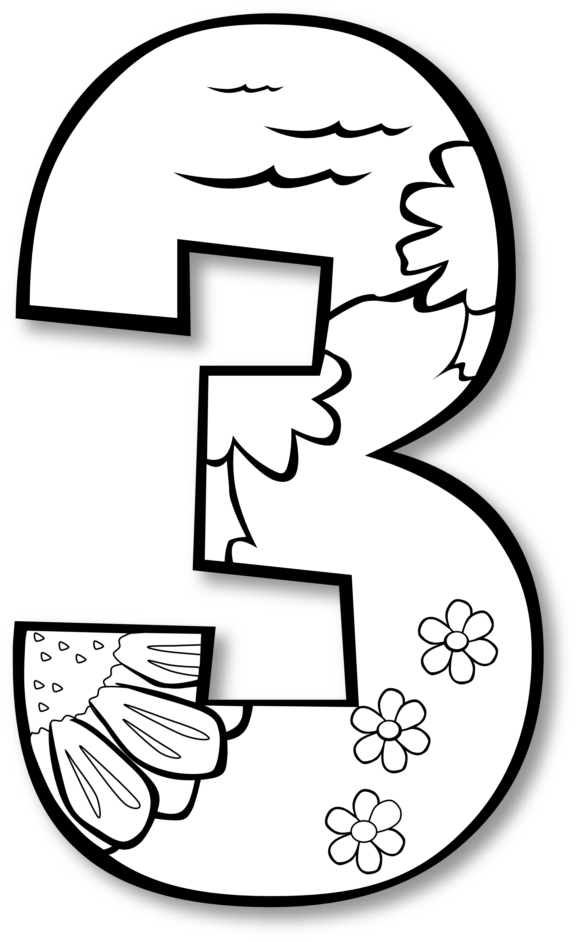 Number three at getdrawings. Numbers drawing cartoon image freeuse library
