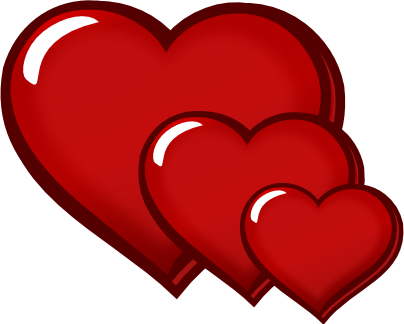 3 hearts png. Three red transparent image