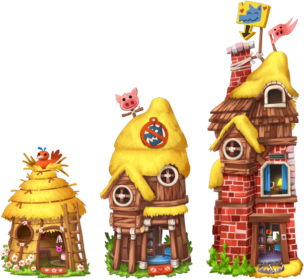 3 little pigs png. Image fairytales house level