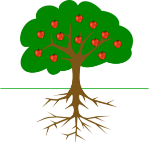 3 vector apple tree. With roots clip art