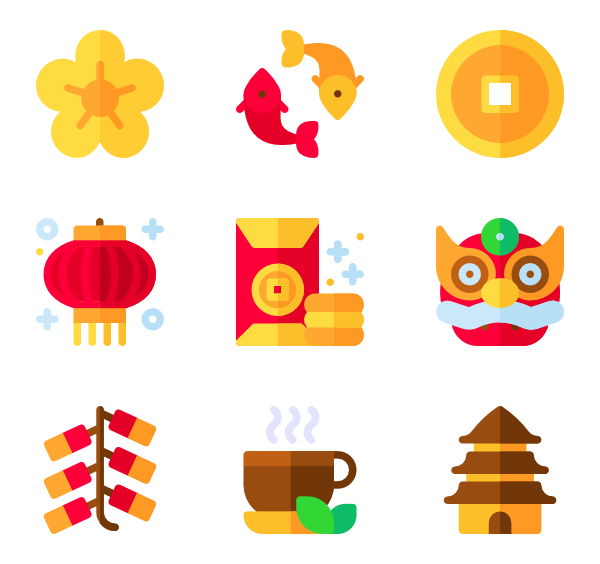Vector wind fan. Icons free chinese year