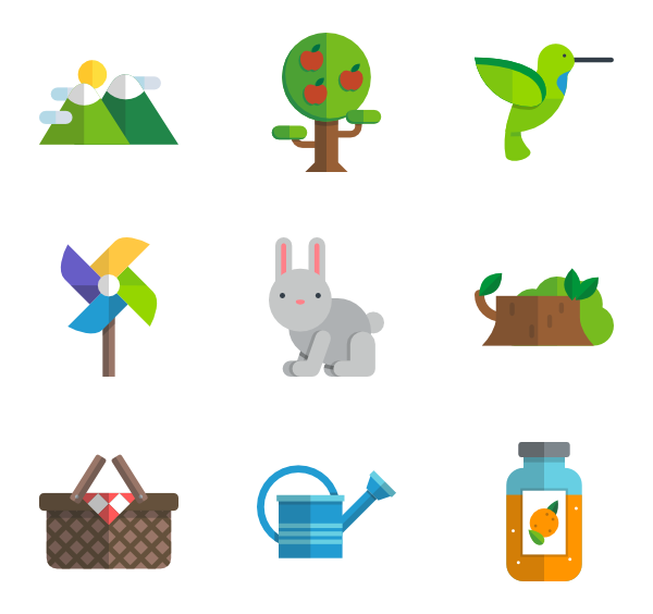 Vector nature clip art. Tree icons free flat