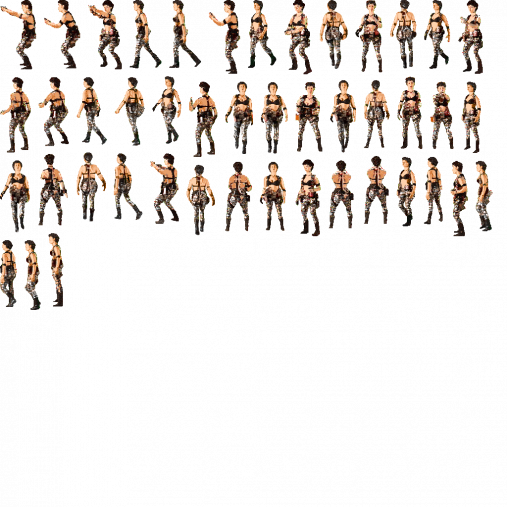 3d female sprite sheet png. Space trucker loads up