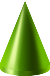 3d shapes png. Cone green icon