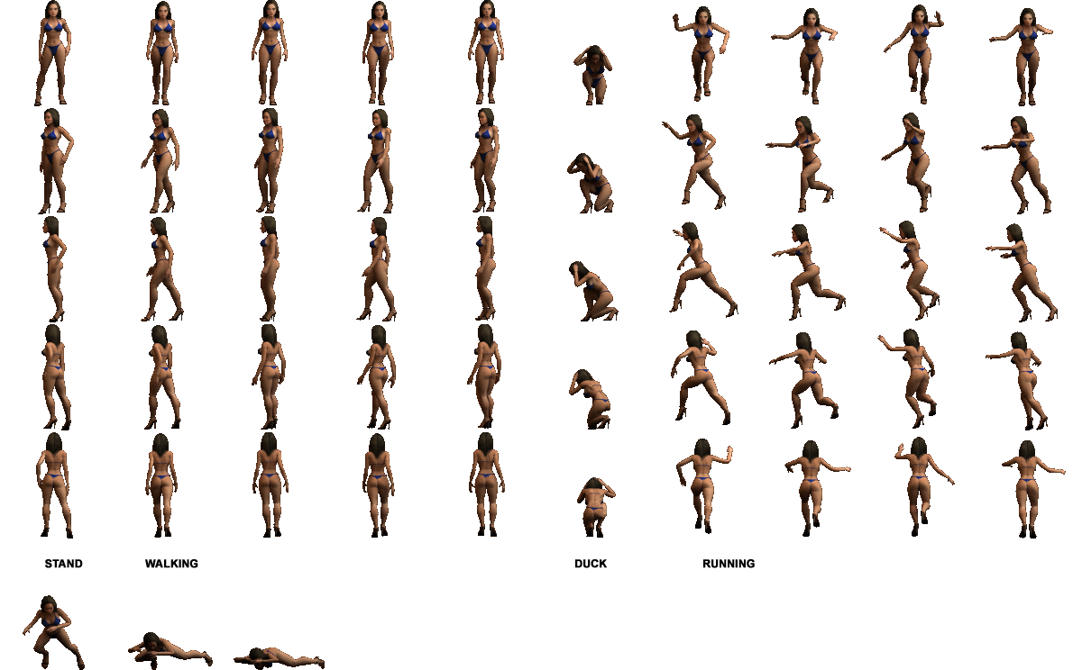 3d female sprite sheet png. Npc girl sprites duke