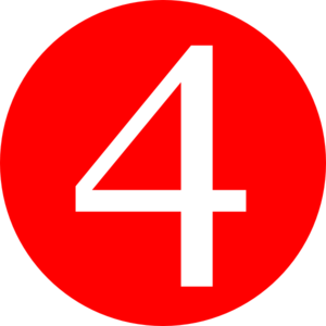 4 clipart. Red rounded with number