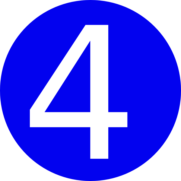 4 clipart blue. Rounded with number clip