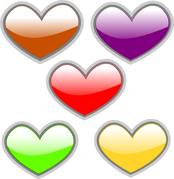 4 of hearts png. Multi colored glossy clip
