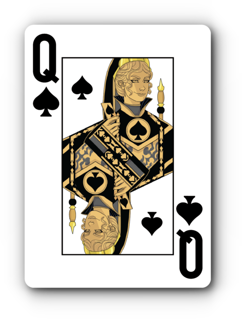 4 queen playing cards png. Four color faded spade