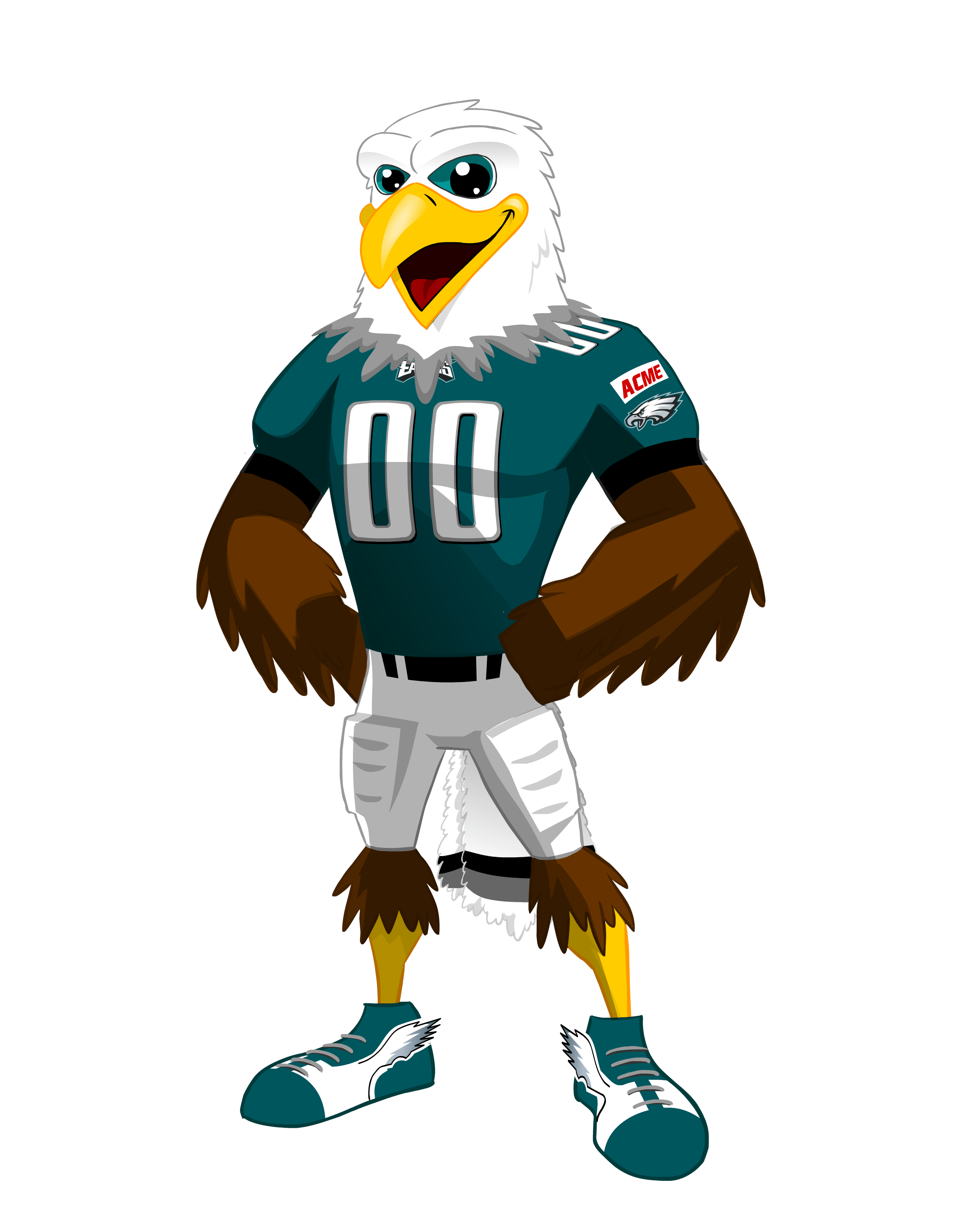 Mascot drawing bird. Philadelphia eagles swoop one