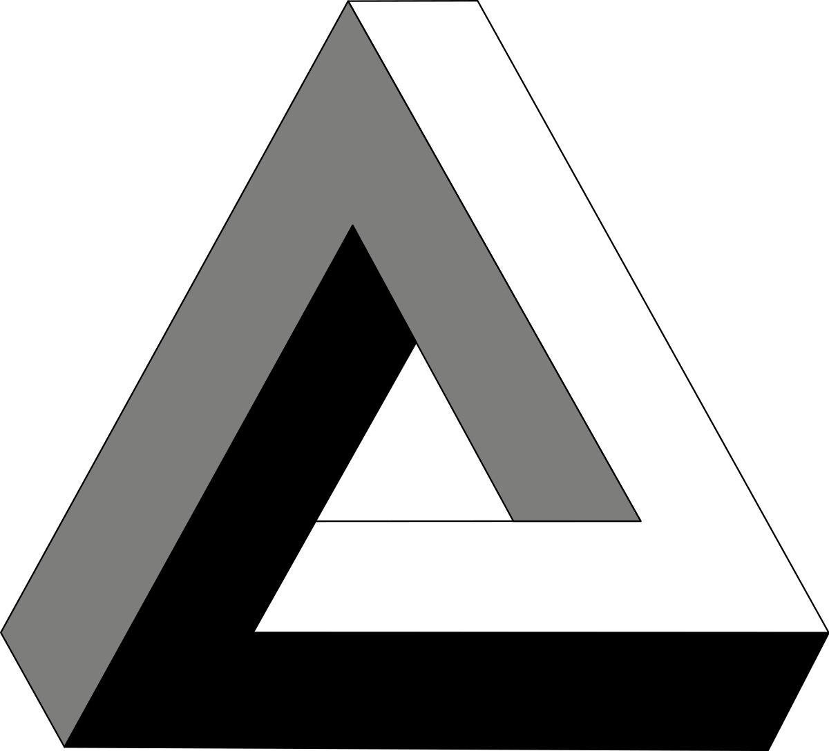 4d drawing illusion. Penrose triangle wikipedia